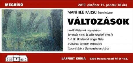 2019 okt. 11, Manfred önálló kiállÍtása, Dunaharaszti, Laffert Kúria