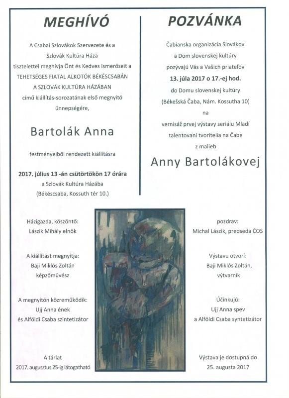 Meghívó - kilállításmegnyitó a békéscsabai Szlovák Kultúra Házában