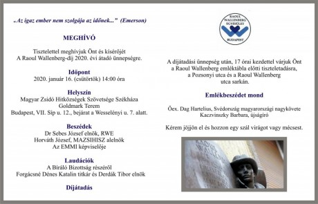 Wallenberg.díj meghívó